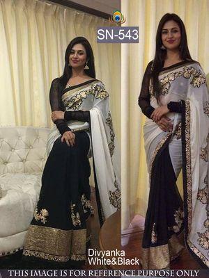 Divyanka Tripathi Black & White Georgette Designer Saree Bollywood Sarees Online on Shimply.com