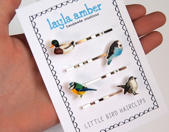 Bird Hair Clip Set by laylaamber on Etsy