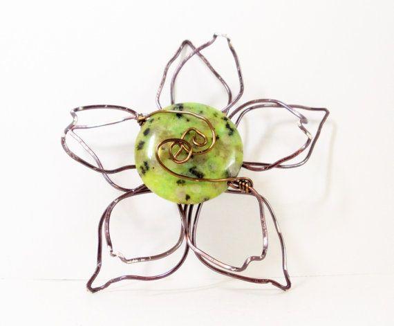 Magnetic Scarf Pin Gunmetal Flower Brooch Magnetic by simplysuzie2, $35.00