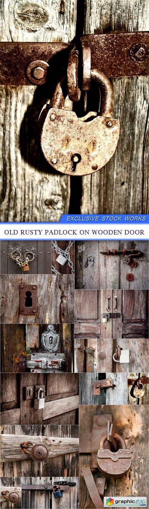 Old rusty padlock on wooden door 15X JPEG  stock images