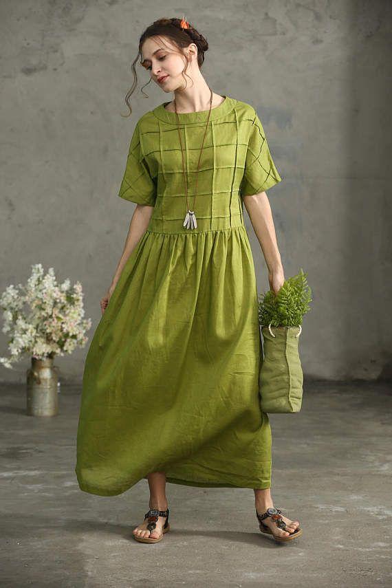 olive green linen dress, oversize linen dress, loose fitting dress, maxi linen dress, maxi dress, prom dress, beach dress, long linen dress