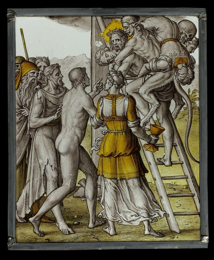 Anonymous | Allegory of Christ as Saviour of the World, Anonymous, c. 1560 - c. 1570 | Rechthoekige gebrandschilderde ruit met voorstelling van Christus al de redder van de mensheid. Tussen Johannes de Doper en het Geloof, voorgesteld door een vrouw met kelk, vraagt een naakte man aan Christus, die het kruis beklimt met op zijn rug verschillende doden en de duivel, hem het goede pad te wijzen.