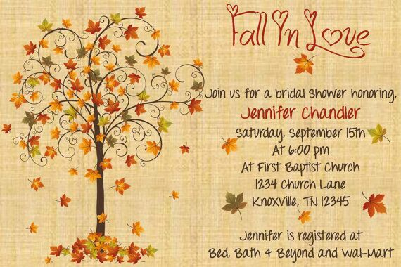 Fall In Love Bridal Shower Invitation with Recipe Card on Etsy, $15.00