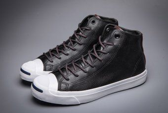 Converse Jack Purcell Black High Tops Tumbled Leather