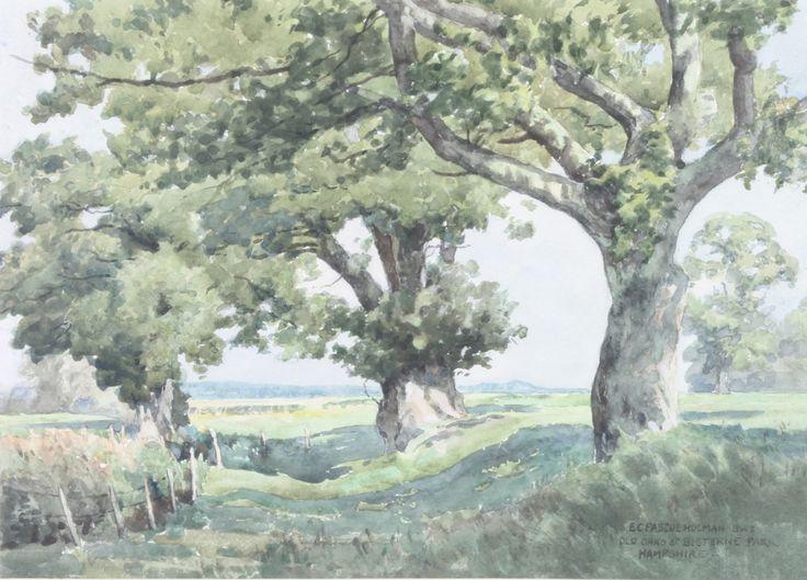 """Lot 445, E C Pascoe Holman, watercolour, signed, """"Old Oaks at Bisterne Park Hampshire"""" 10 1/2"""" x 14 1/2"""", est £60-80"""