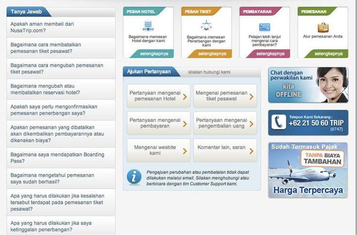 Traveler memiliki pertanyaan seputar pemesanan #tiketpesawat atau #Hotel di #NusaTrip? Traveler bisa langsung menghubungi Customer support resmi #NusaTrip di: *telepon 021-50608747 senin-jumat pukul 07:00-22:00 WIB dan sabtu-minggu/hari libur nasional 07:00-22:00WIB *chat di www.nusatrip.com/id/bantuan senin-jumat pukul 07:00-22:00 WIB, sabtu-minggu/hari libur dan libur nasional 07:00-22:00WIB
