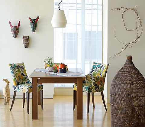 DINING TABLE SET with: Wooden Mask (Mexico), Wooden Bird (Ecuador), Fishing Basket (Indonesia)