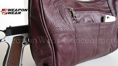 #108 LARGE Burgundy Locking Concealment Concealed Carry CCW Holster Gun Purse