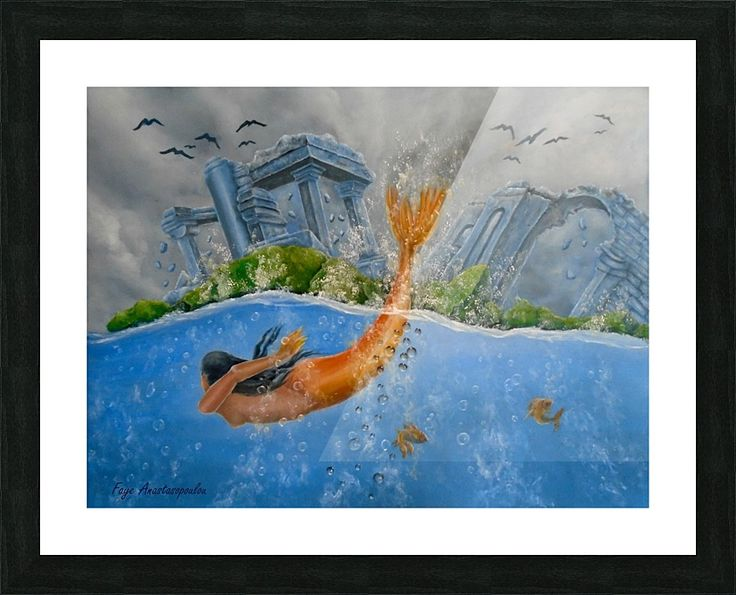 Framed, Art Print, meramaid,painting,ocean,scene,wild,nature,seascape,underwater,water,ruins,temples,mythological,mythical,fish,big,fantasy,imaginary,vivid,colorful,blue,beautiful,awesome,cool,superb,amazing,contemporary,realistic,figurative,fine,oil,wall,art,images,home,office,decor,artwork,items,ideas,for sale,pictorem