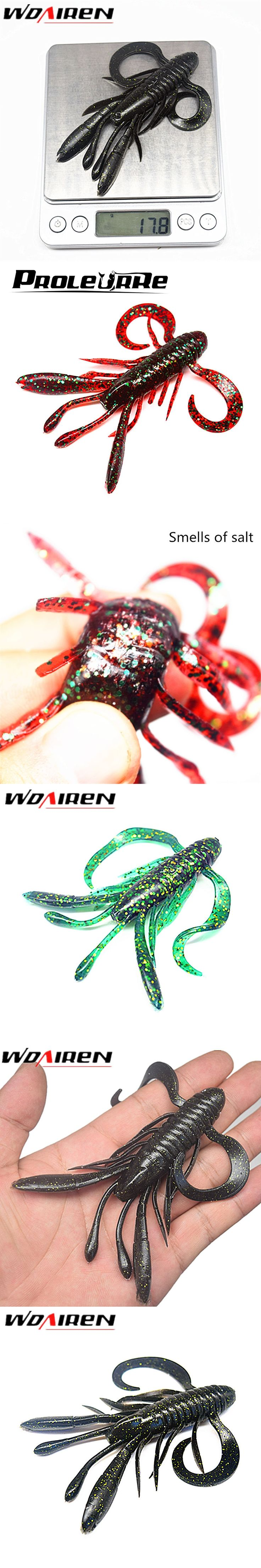1Pcs 10cm 17.8g soft baits fishing lures soft lure jig wobbler swivel rubber lure fishing worms salt smell soft shrimp bass lure