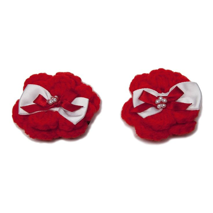 Red Flower Hair Clips with Red & White Bows.   Handcrafted crocheted hair clips to complement all hair colours in a bright red shade. With bows and pearl like detailing. £4.00 http://www.classycrafting.com/red-flower-hair-clips-with-red-white-bows/