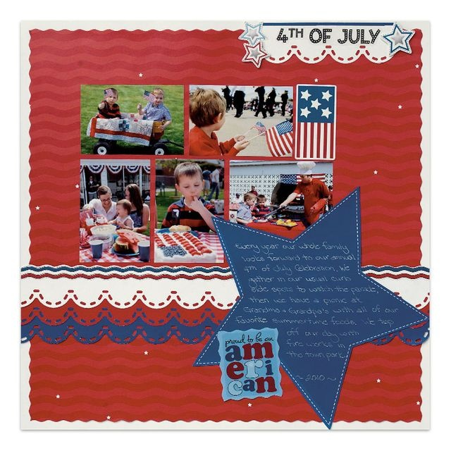 Cheerful Stars and Stripes Scrapbooking Layout Idea  (I like the red, white and blue with the scallop border)