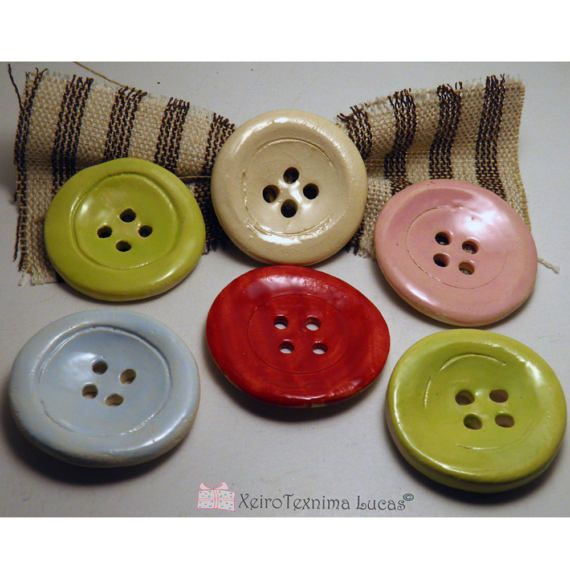 Handmade Round Ceramic Buttons 5cm 2 Ornaments