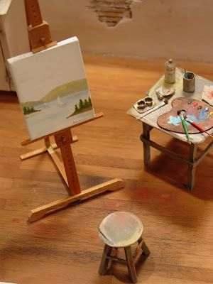 """Teeny tiny easel, art stool and painting tools. From """"IGMA trade show this weekend, 15 minute from Manhattan"""" by Dioramas and Clever Things. http://www.dioramasandcleverthings.com/2012/09/igm-trade-show-this-weekend-15-minute.html"""