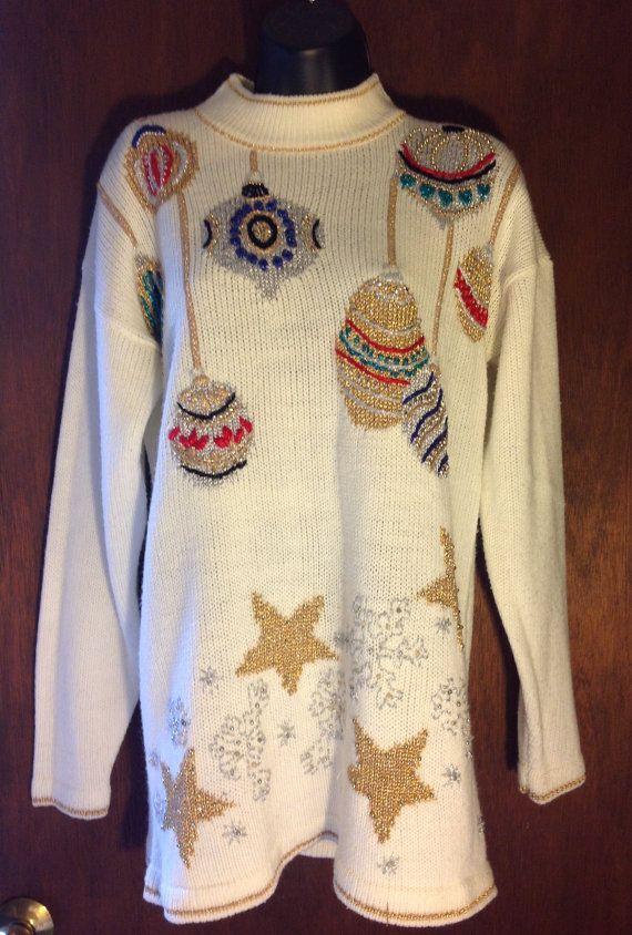 Dana Scott - suéter de Navidad de las mujeres, de tamaño medio - Christmalls ornamentos, blanco suéter, suéter de Navidad feo