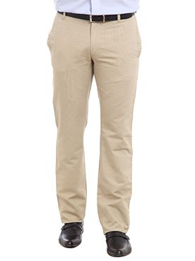 Take a break from your routine and try these super-trendy trousers by Raymond in the loveliest of colors. These light colored trousers will look amazingly stylish when worn on dark colored shirts and printed designed shirts. These trousers give a smooth and soft feel when worn for outings or informal events. These trousers have welt pockets at the back with buttoned closure and adjustable hems. These black trousers have a waist band with belt loops and zippered fly. Wear this fashionable ...
