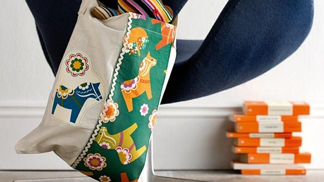 These calico bags make gorgeous book bags for kids' library books...and are great as a tote for grown ups.