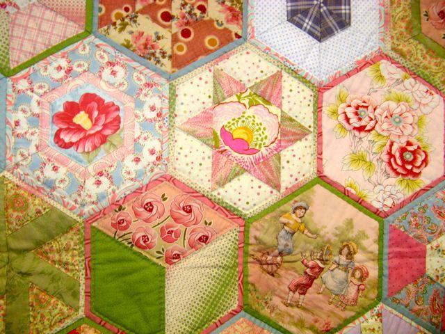 Amanda's quilt-as-you-go hexagon quilt on PreciousTime blog.