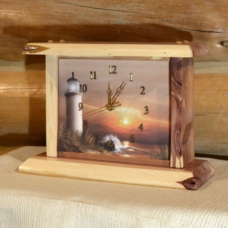 Red Cedar Sunset Lighthouse Mantel Clock #Handmade #Nautical