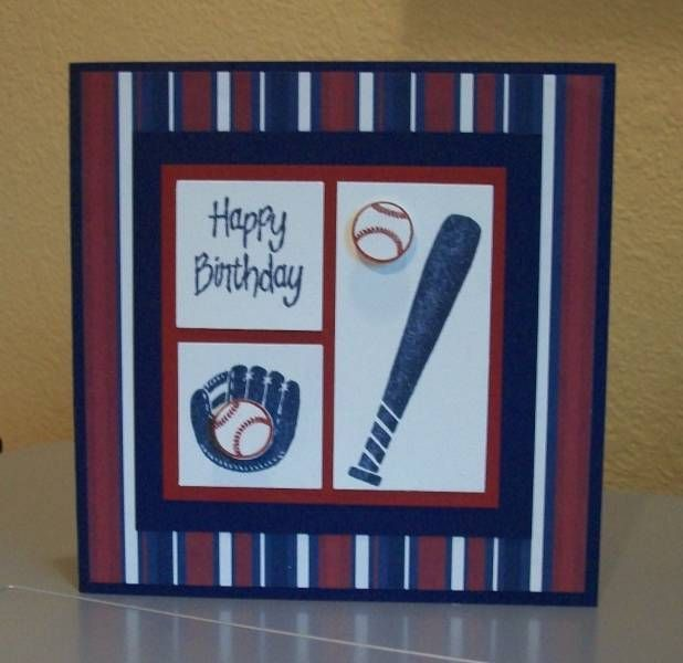 Baseball Birthday Card By Cmk7471 Cards And Paper Crafts At Splitcoaststampers Baseball Card Template Birthday Cards For Boys Baseball Card Displays