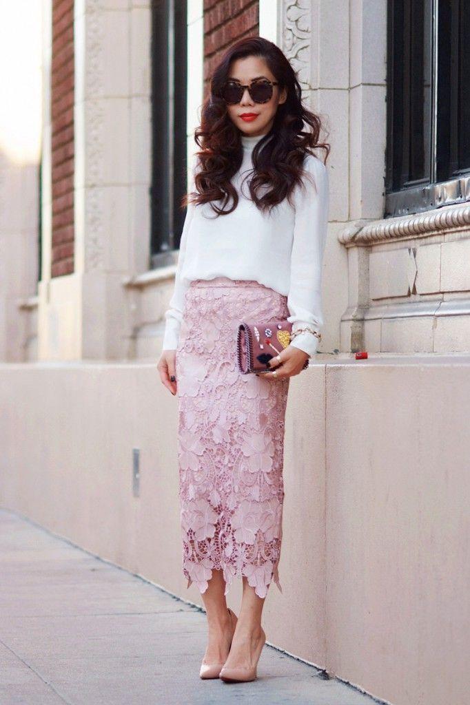 длинная кружевная юбка-карандаш