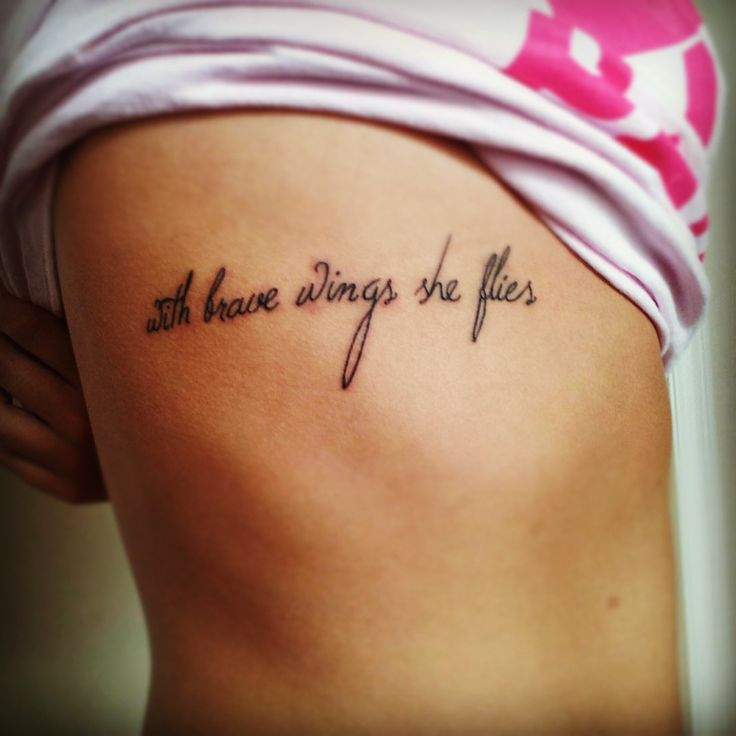 """My Recovery Tattoo I Refuse To Sink I Wish To Fly: """"With Brave Wings She Flies"""""""