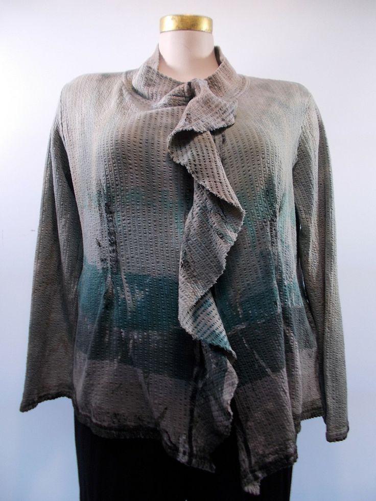 Art of Cloth - Verdigris Handpainted Leila Zippered Jacket ...
