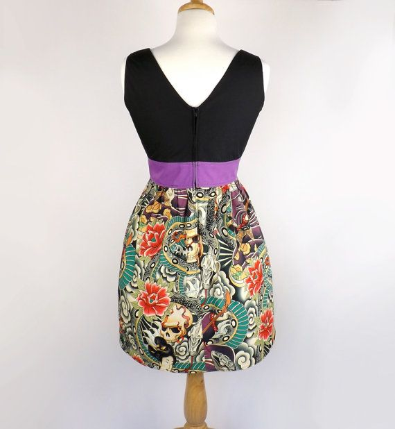 Empire Waist Japanese Zen Tattoo Dress / by VintageGaleria on Etsy