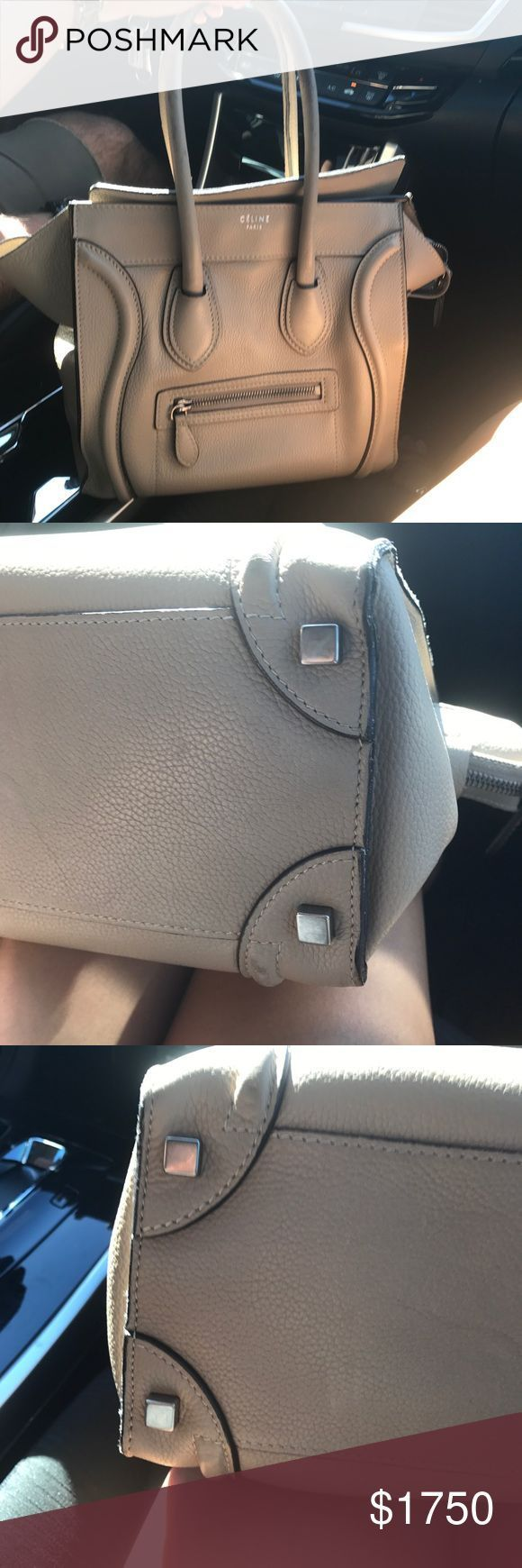 Tendance salopette 2017  Celine Micro Luggage Bag in Beige In good used condition. Has some wear but over