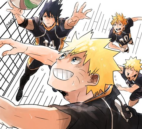 i was going through my likes and i saw that haikyuu!! x naruto crossover thing that the authors did