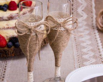 Bruiloft champagneglazen rustieke bruiloft jute en Lace