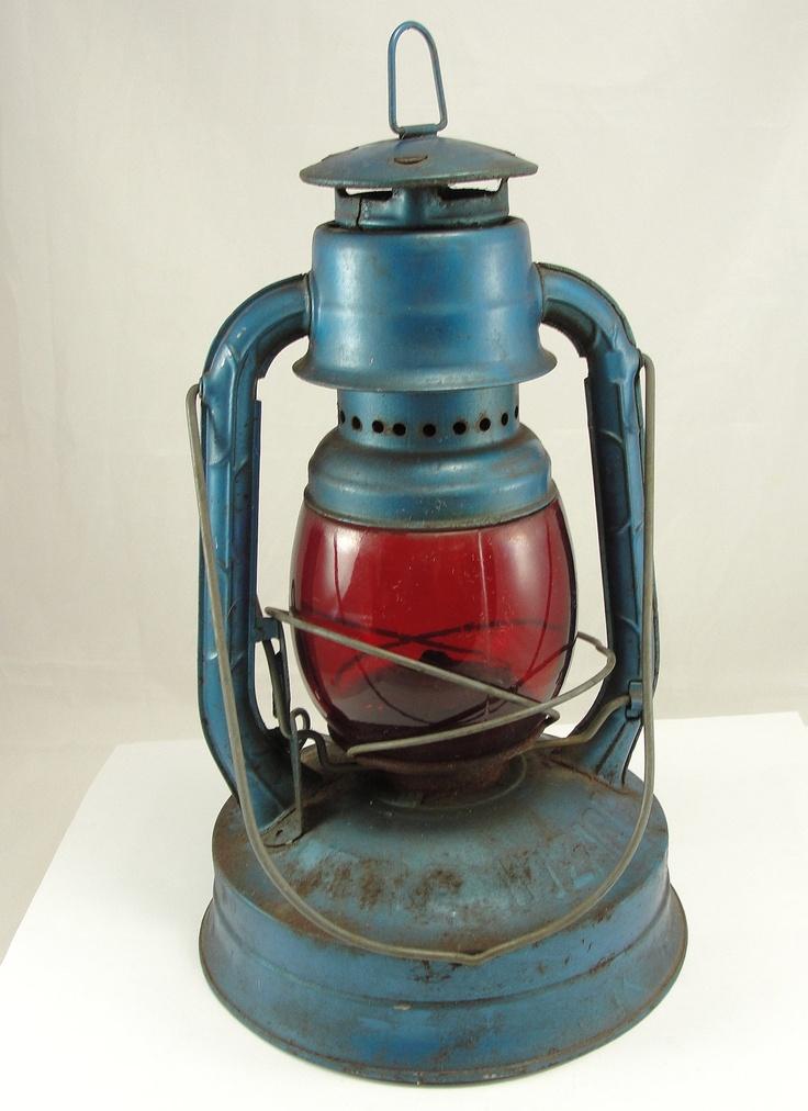 Vintage Dietz Lantern Railroad Lantern Kerosene Blue Red