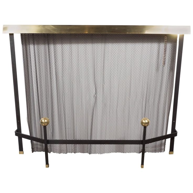 Mid Century Modern Black Enameled Iron And Brass Fire Screen By Donald  Deskey