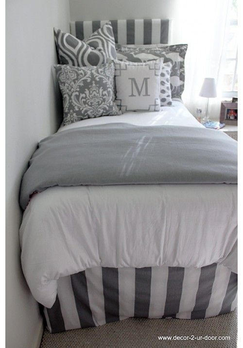 Grey & White Delight Designer Teen & Dorm Bed in a Bag | Teen Girl Dorm Room Bedding