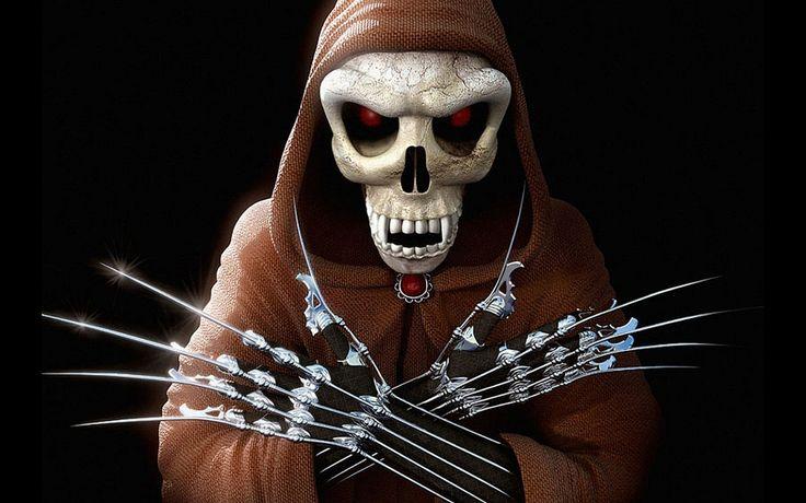 gansta skulls Dark Scary Grim Reaper Diamond Red