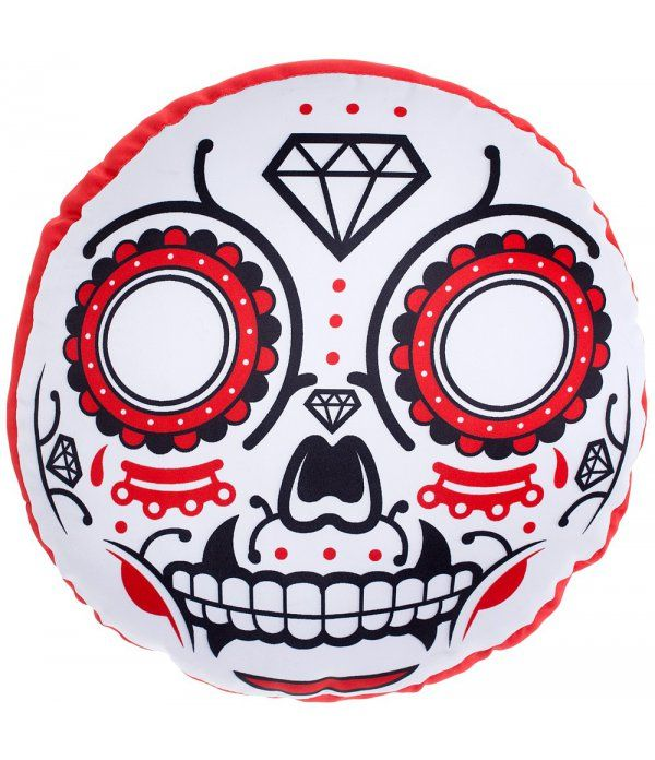Coussin Sugar Skull Sourpuss. Coussin mexican skull. Coussin Freaky Pink. Coussin tattoo. Coussin pas cher. Boutique gothique Freaky Pink. Promo. Promotion.