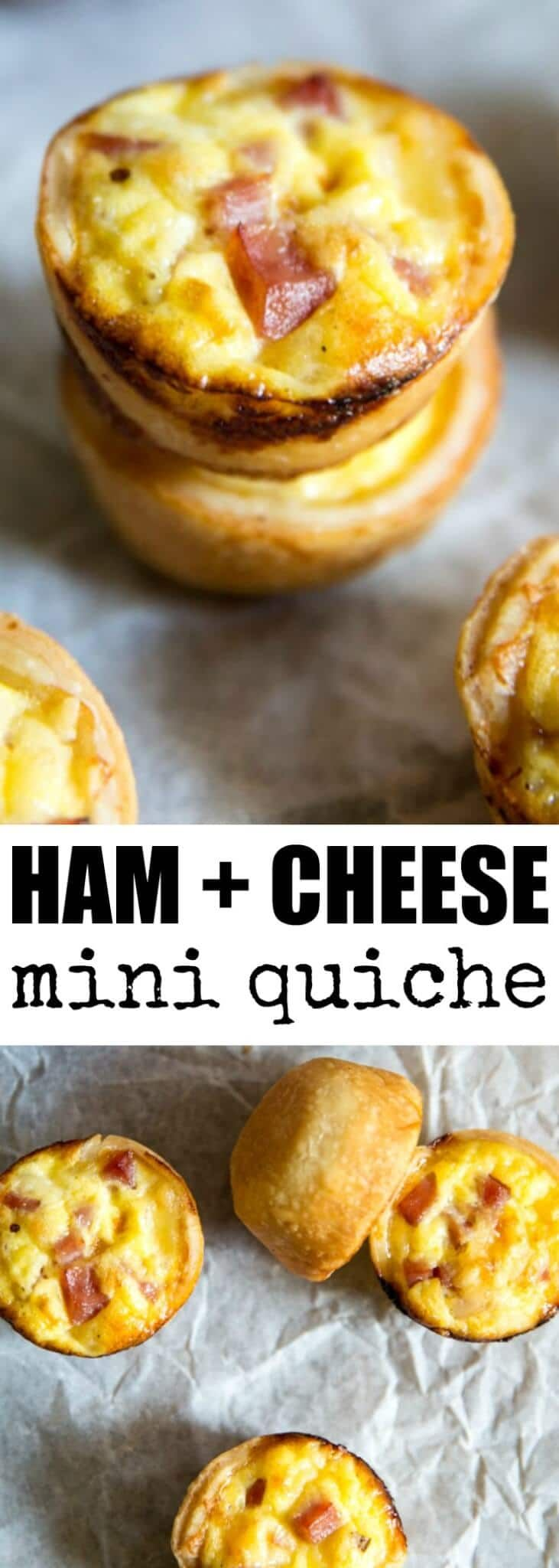 Mini Ham and Cheese Quiche made with store-bought…