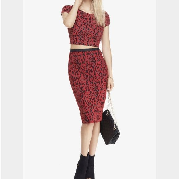 and black crop top with matching pencil skirt boutique