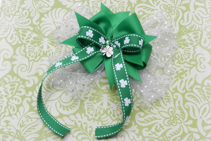 St. Patrick's Day Hair Bow with Long Ribbon Tails 17