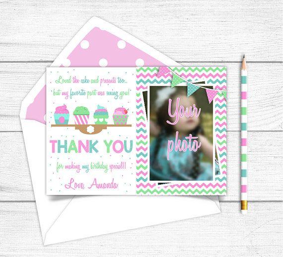 Printable Cupcake Birthday Thank you Card Cupcake Photo