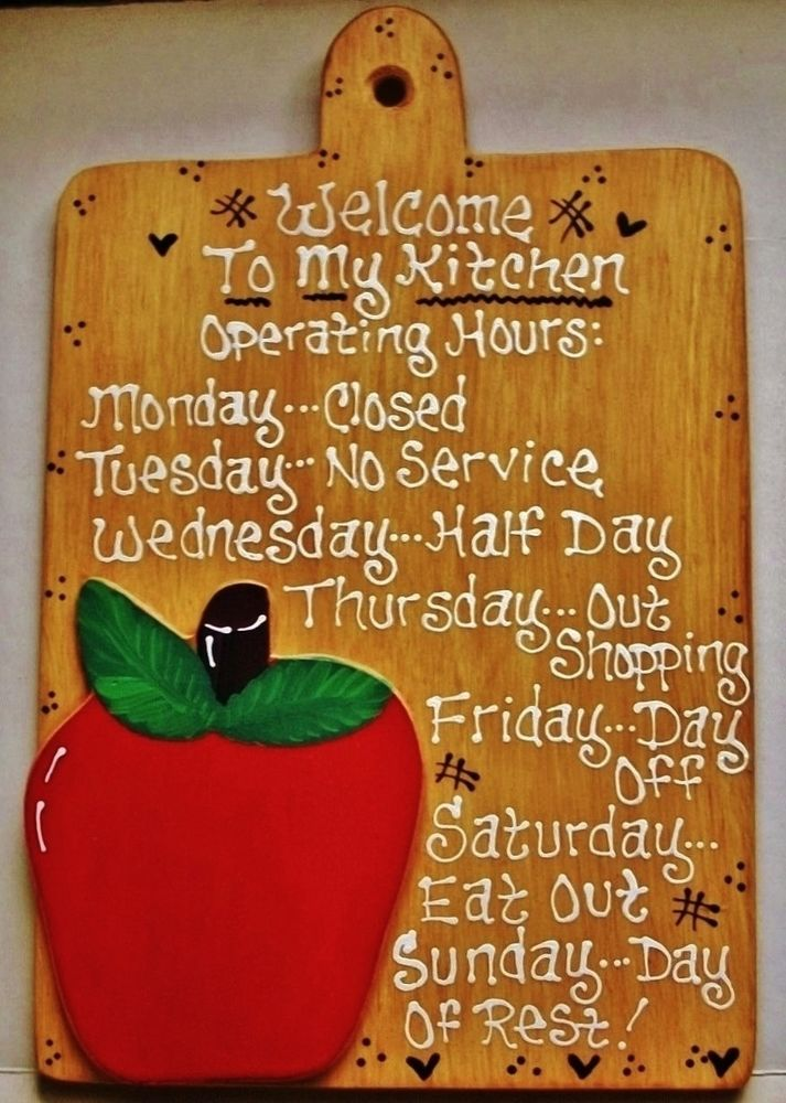 8x12 APPLE Kitchen Operating Hours SIGN Fruit Plaque Handcrafted Country Decor