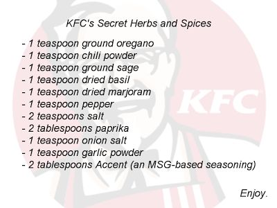 An Evening Meal: KFC Secret Recipe Revealed!