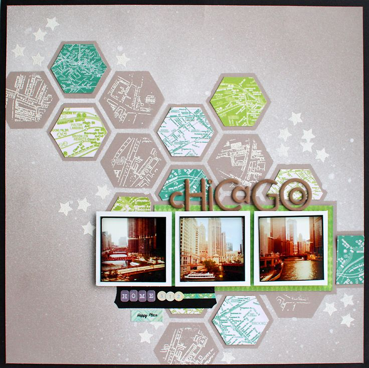 Another layout by @Kelly Teske Goldsworthy Purkey. Those hexagons make me happy + I love the misting.