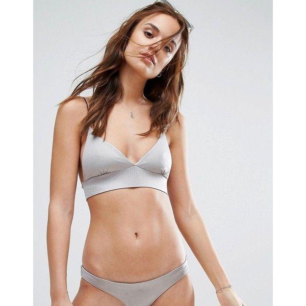 Lira Bralette Bikini Top (31 CAD) ❤ liked on Polyvore featuring swimwear, bikinis, bikini tops, silver, slimming bikinis, swimsuit tops, swimming bikini, strappy bikinis and tankini swim tops