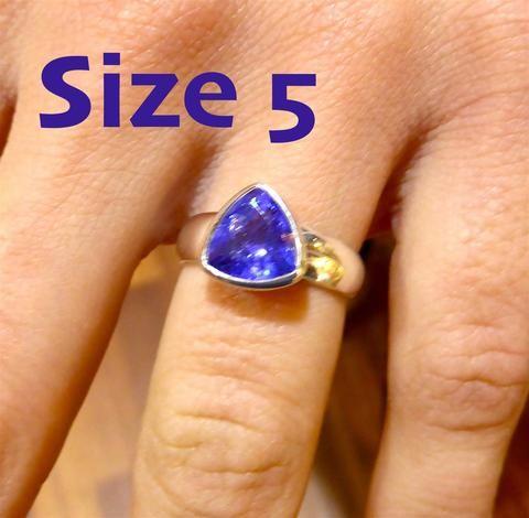 Genuine Tanzanite Ring Trillium cut | 925 sterling Silver | Size 5 | Spiritual Superlative | Mt Kilimanjaro | Crystal Heart Melbourne Australia since 1986