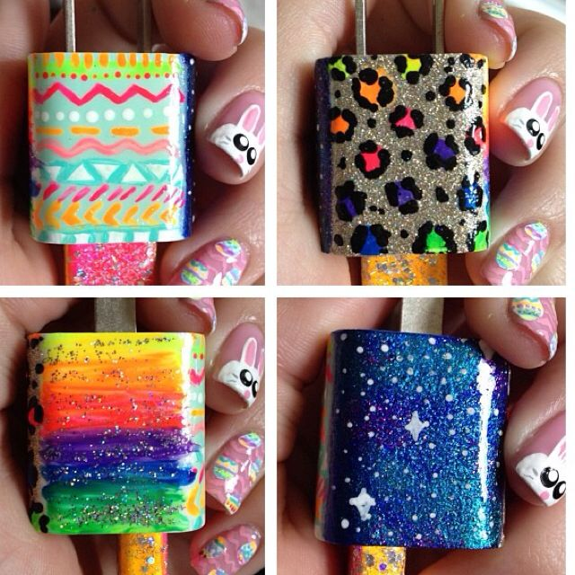 DIY charger idea clear up the areas you don't want the nail polish to get with tape. After your done with your design get mod podge or clear nail polish to secure it.