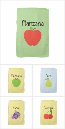 Fruit Kitchen Towels in Spanish