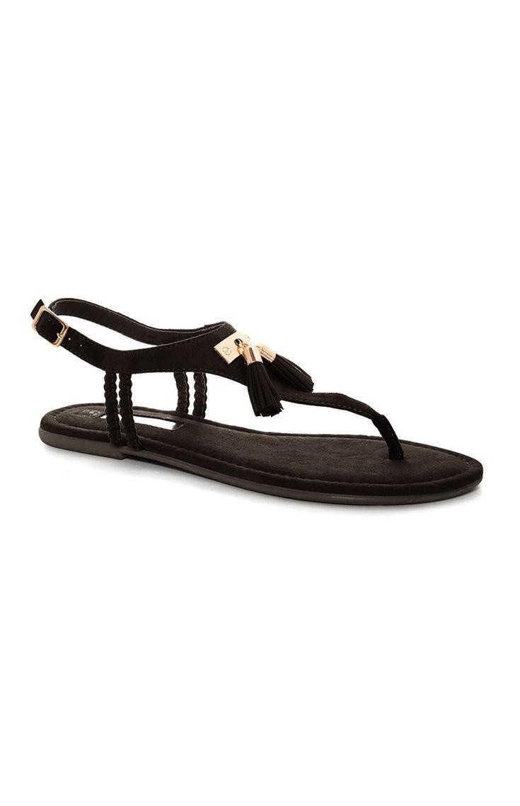 Zwarte sandalen met kwastjes