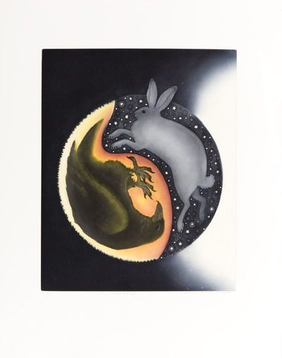 "Night & Day  Germaine Arnaktauyok    Igloolik   Etching & aquatint print  31.5"" x 25""  Edition of 75"