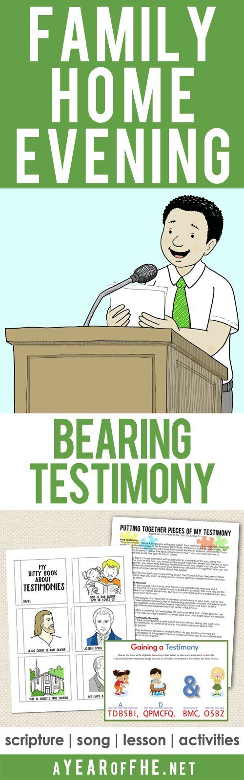 A Year of FHE // a Family Home Evening all about Gaining and Sharing a Testimony! Includes a scripture, song, lesson and activites for young kids, older kids, and teens!  #LDS #Testimony